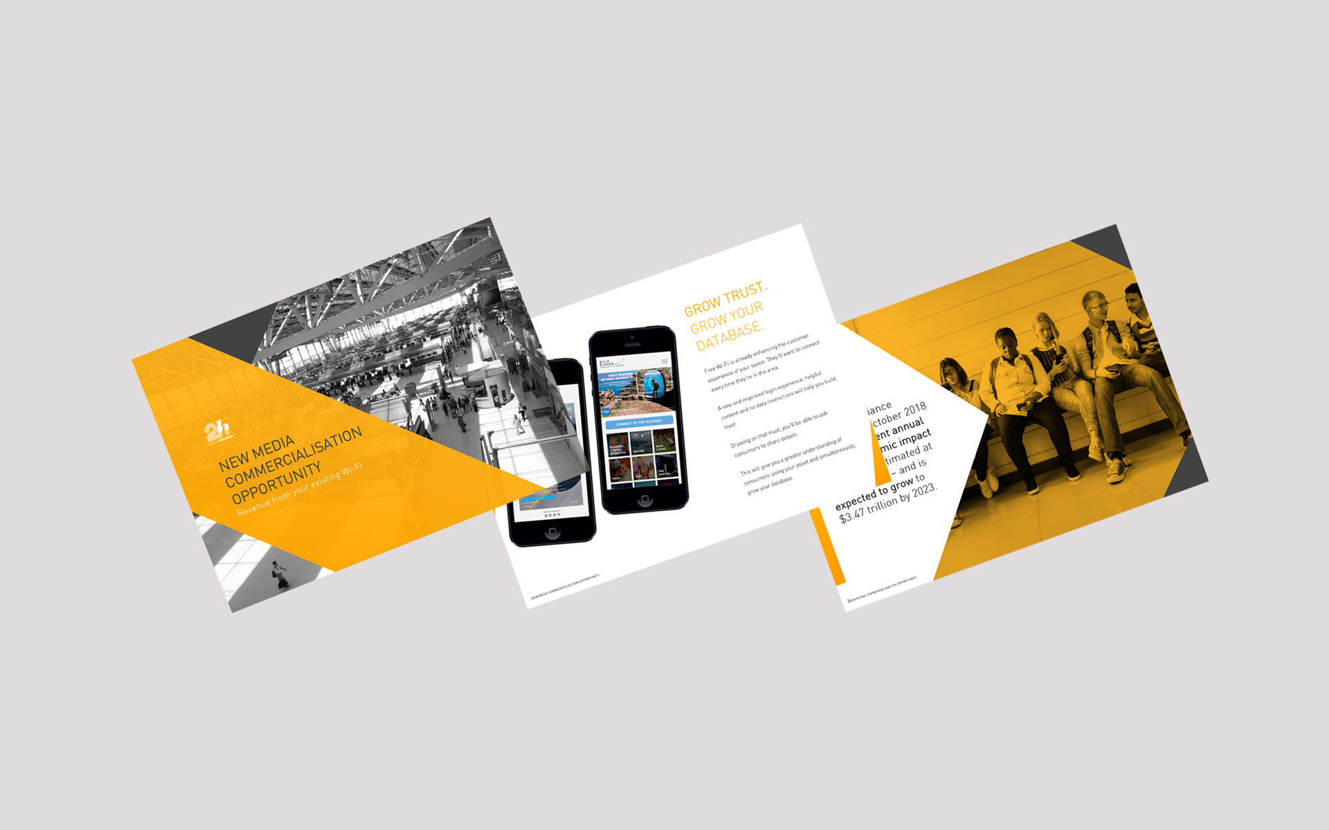 2h Media marketing, publications & powerpoint designed by Amy at Yellow Sunday