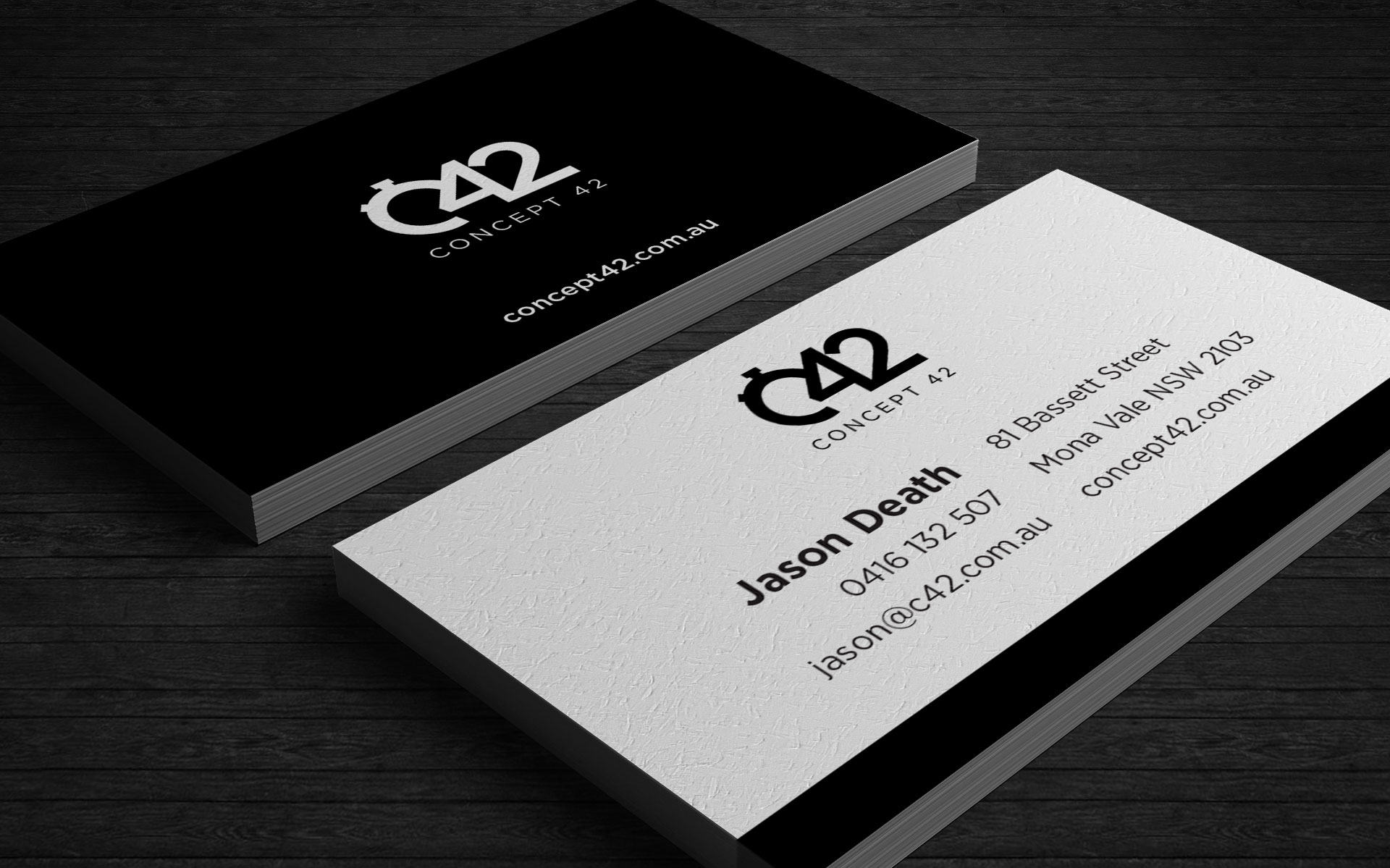 Concept 42 logo, branding & marketing designed by Amy at Yellow Sunday