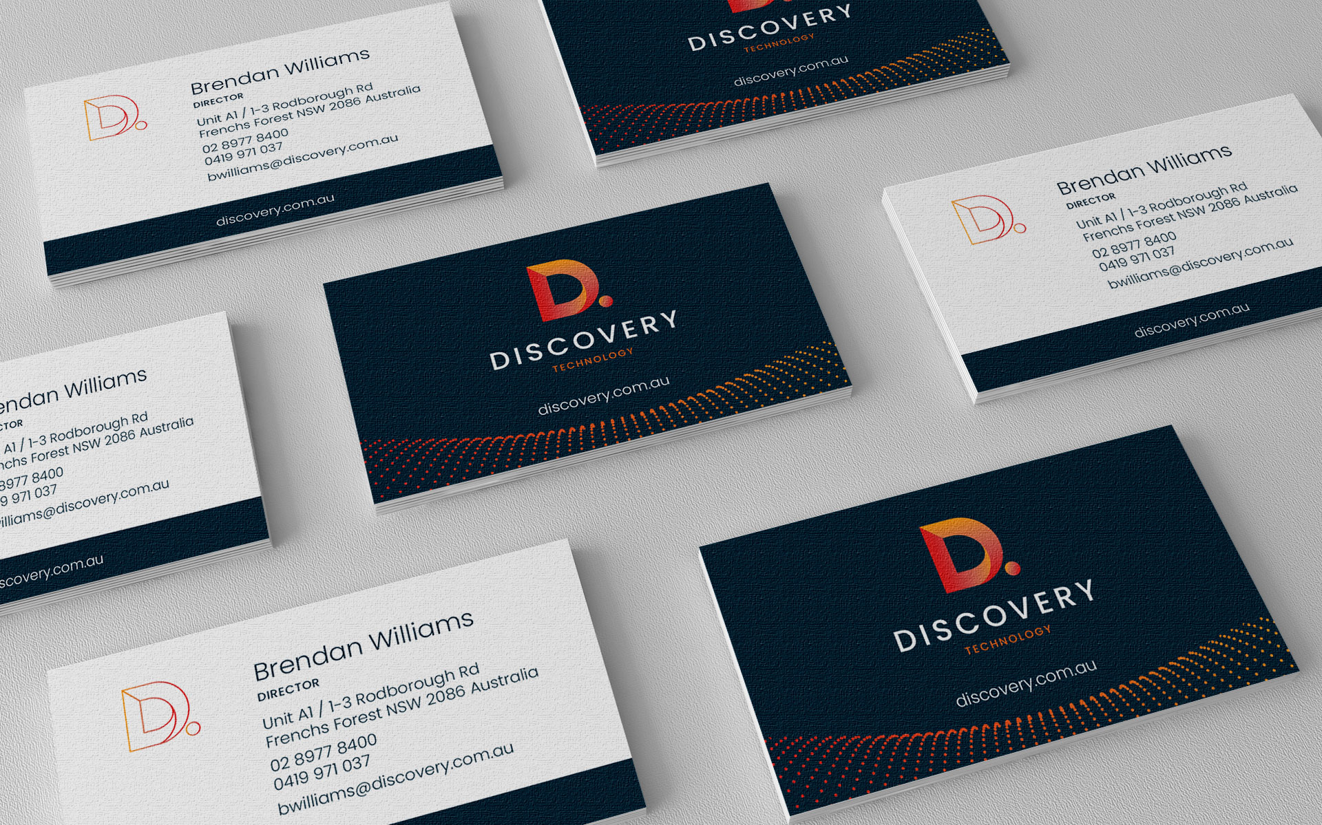 Discovery Technology logo, branding, marketing, publications & website design & build by Amy at Yellow Sunday