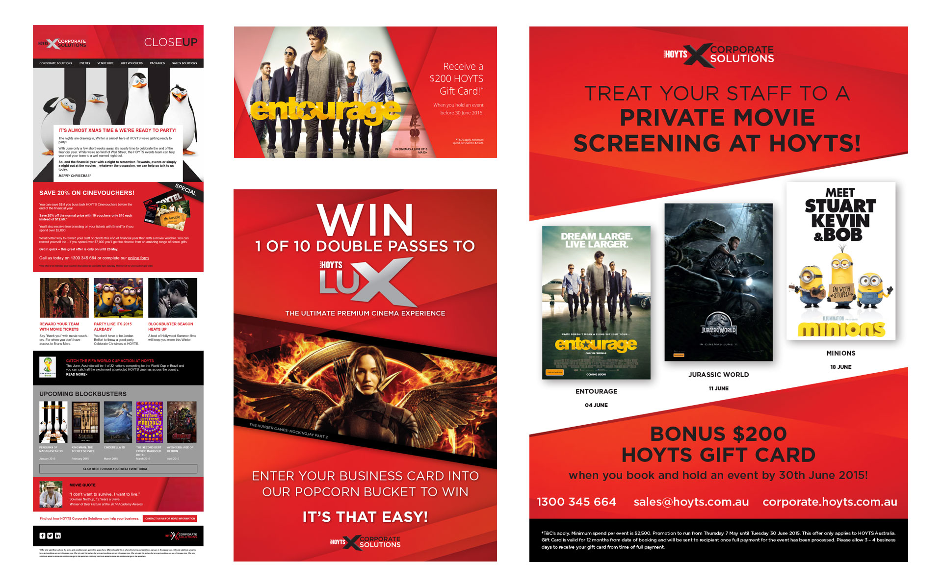 HOYTS Corporate Solutions branding, marketing, publications & online work designed by Amy at Yellow Sunday
