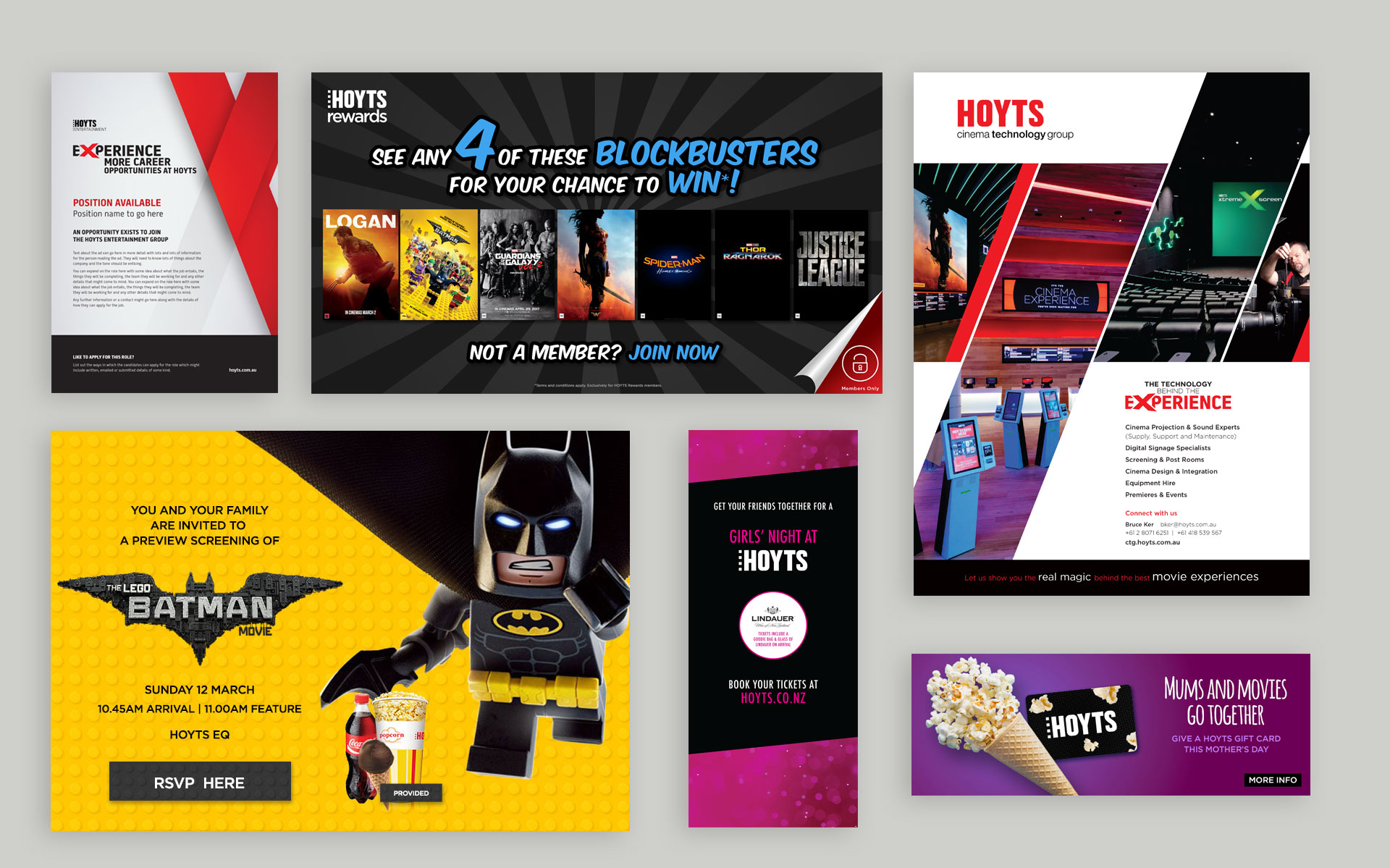 HOYTS branding, marketing, publications & online work designed by Amy at Yellow Sunday