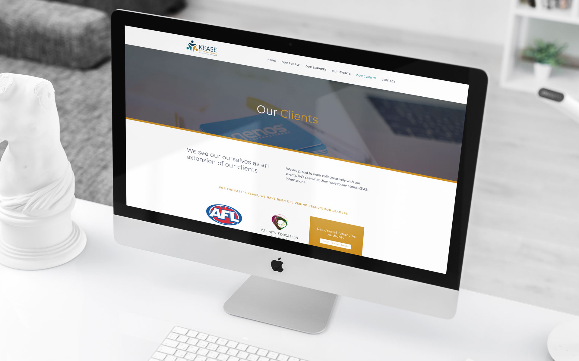 KEASE International website design & build by Amy at Yellow Sunday