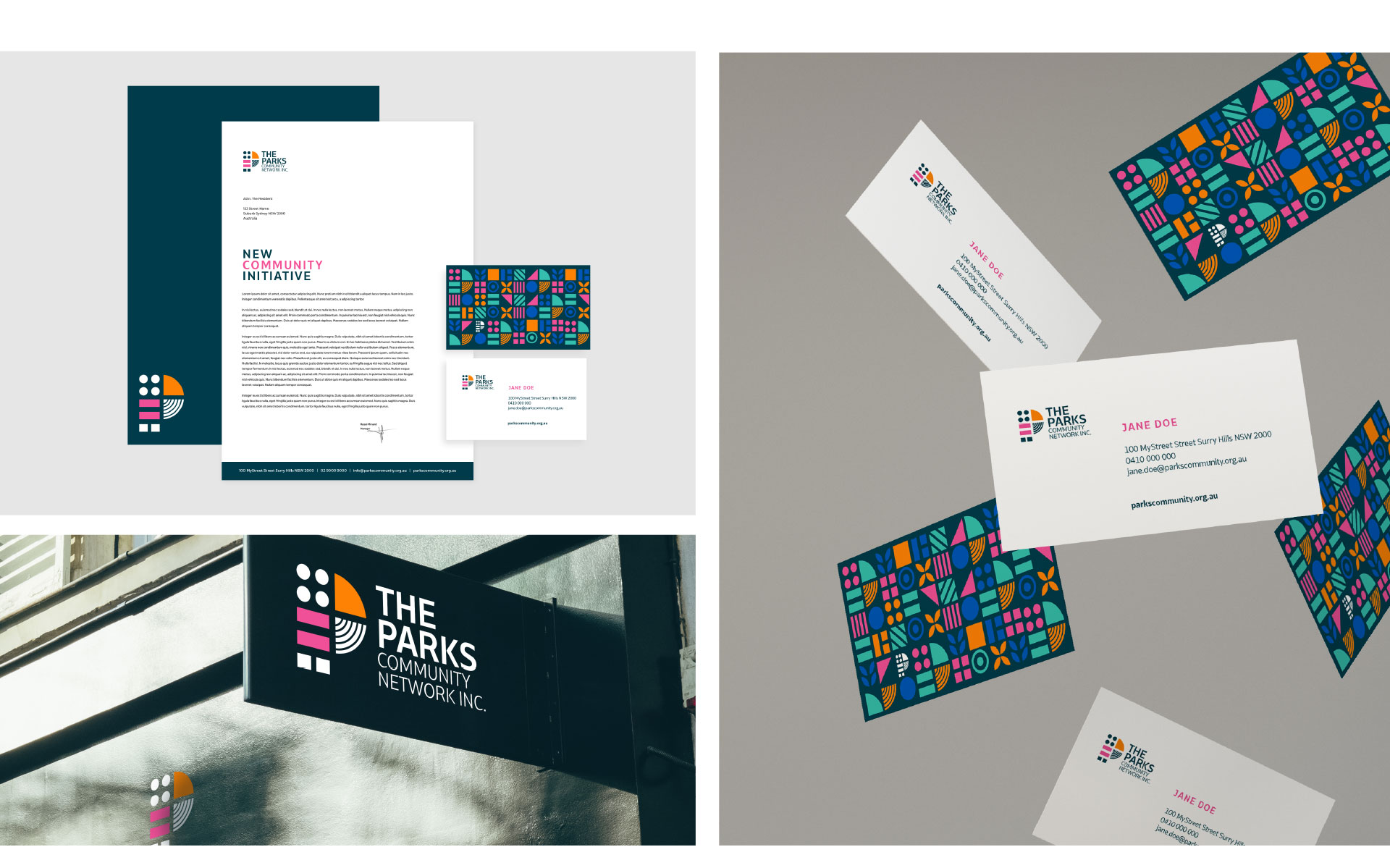 The Parks Community Network logo, branding & marketing designed by Amy at Yellow Sunday