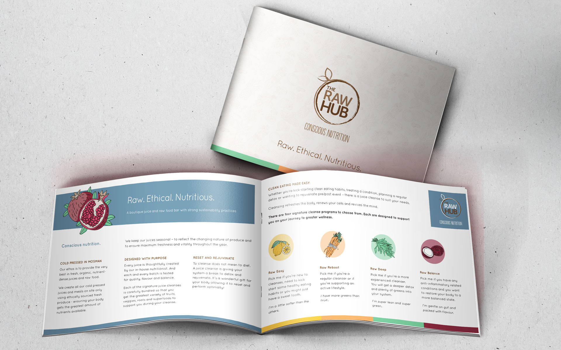 The Raw Hub branding elements & marketing designed by Amy at Yellow Sunday